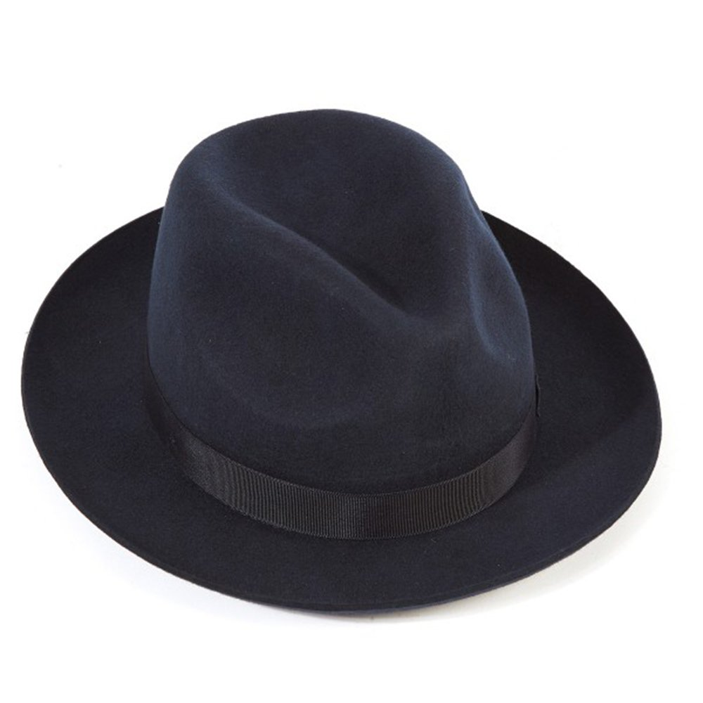 Official Christys of London Christys Of London Chepstow Wool Felt Snap Brim Trilby Hat Navy, M - 57cm