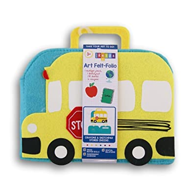 School Bus Shaped Kids Art Felt-Folio with Sketchpad and Crayons: Toys & Games