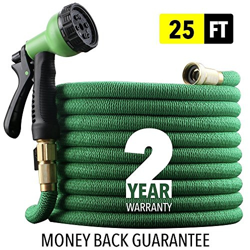"EnerPlex [2019 NEW] HEAVY DUTY 25 ft Non-Kink Expandable Garden Hose, 10-PATTERN Spray Nozzle INCLUDED, 3/4"" Brass Fittings Shutoff Valve, STRONGEST EXPANDABLE 25-FOOT HOSE – 2 YEAR WARRANTY – GREEN"