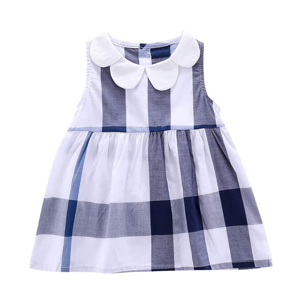 Toddler Baby Sleeveless Plaid Printed Clothes Girls Elegant Princess Gown Party Dresses 1-4 Years (18-24 Months, Blue)
