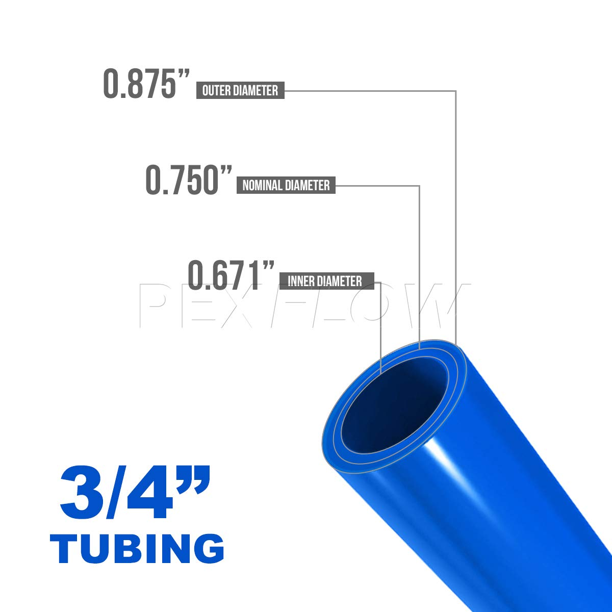 Blue 3//4 Inch Pexflow PFW-B34100 Potable Water Pex tubing