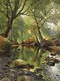 WOODLAND STREAM by Peder Monsted forest trees water stone Tile Mural Kitchen Bathroom Wall Backsplash Behind Stove Range Sink Splashback 6x8 4.25'' Ceramic, Matte