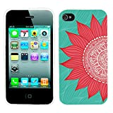 iPhone 4s Case, iphone4s case,iphone 4 case,iphone4 case, ChiChiC full Protective unique Stylish Case slim durable Soft TPU Cases Cover for iPhone 4 4g 4s,red sunflower on green mint abstract background
