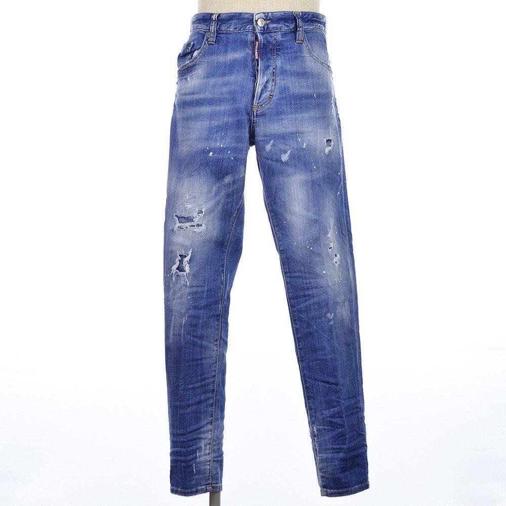 DSQUARED2 ディースクエアード Proud Canuck Skinny Dan Jeans ダメージ スキニー デニム パンツ ジーンズ 2018秋冬新作 B07FTGQ2D9  インディゴブルー 46(M)