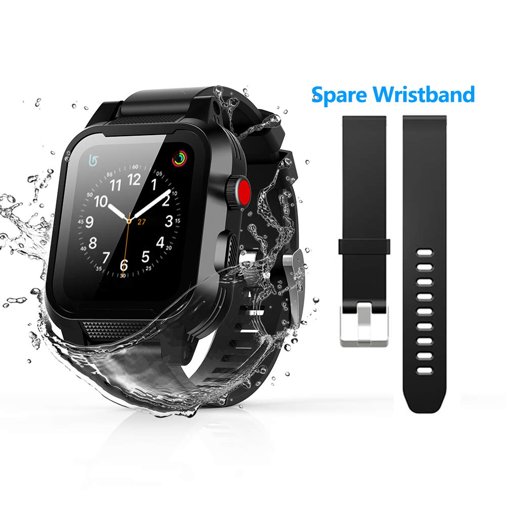 Apple Watch Waterproof Case 42mm 2/3, Waterproof Case with 2 Strap Bands for Apple Watch Series 3 2017 Edition [42mm, Compatible with Apple Watch 2 Series 42mm 2016 ] (Black)