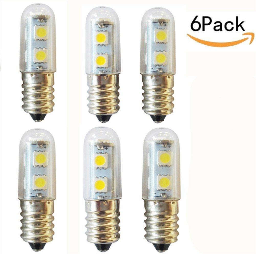 JKLcom E14 Mini LED Bulbs E14 LED Refrigerator Light Sewing Machine Lamp for Range Hood Refrigerator Crystal Chandeliers Lighting,E14 Base 110V 1.5W Daylight White,Pack of 6