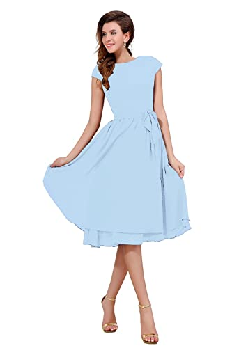 Dasior Women's Cap Sleeve Chiffon Holiday Party Bridesmaid Dress with Bow