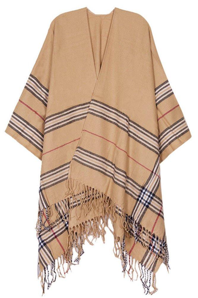 ScarvesMe Classic Camel Plaid Check Elegant Ruana Wrap (Camel)