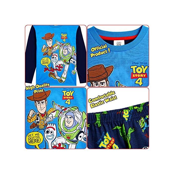 61LxHZ dXcL ✔ PIJAMAS DE TOY STORY --- Este conjunto de pijama de 2 piezas viene con una camiseta azul de manga larga que presenta a tus personajes favoritos de Toy Story 4, Buzz Lightyear, Woody y Forky con pantalones largos a juego. Estos pijamas son son perfectos tanto como ropa de dormir como para estar en casa jugando. ✔ TALLAS DISPONIBLES --- Nuestros magníficos pijamas niños de Toy Story están disponibles en tallas para edades: 18/24 meses, 2/3 años, 4/5 años, 5/6 años, y 7/8 años. Pida la talla que adquiere normalmente en las tiendas y no tendrá problemas. 100% Algodón