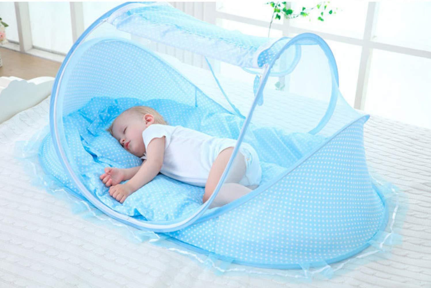 Babybett Neugeborenes faltbares Moskitonetz mit Kissen Baby-Reisebett tragbares klappbares Babybett
