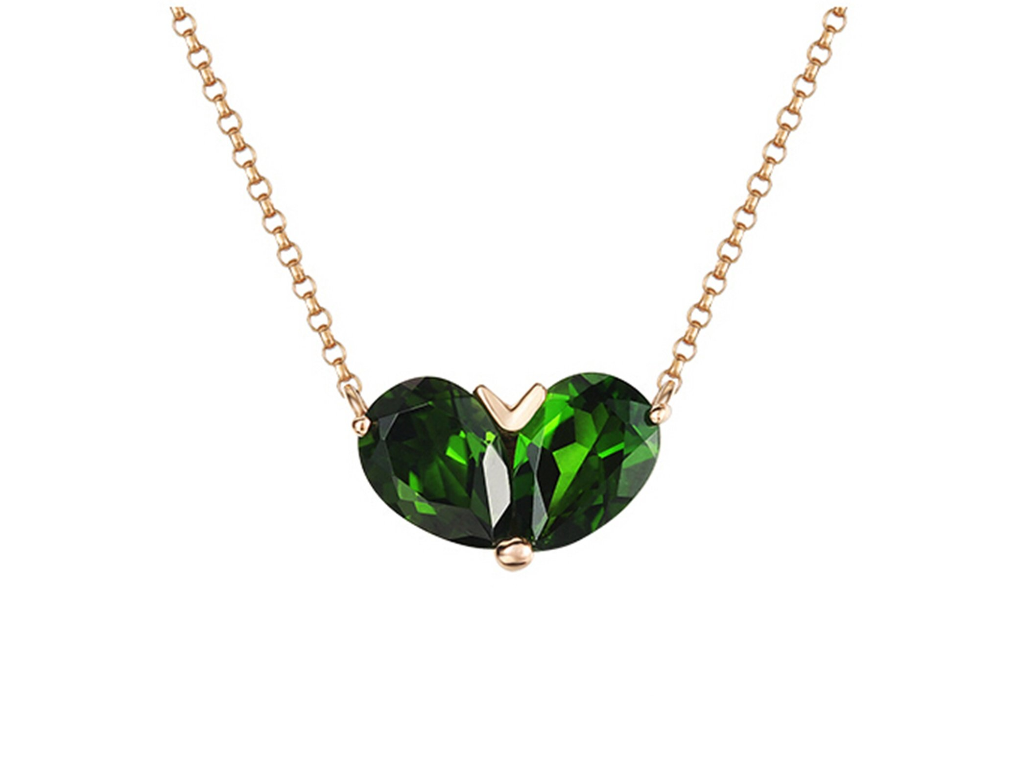 Daesar 18K Gold Necklace For Women Heart Water Drop Natural Green Tourmaline Necklace Chain Length: 40CM