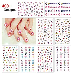 Konsait Unicorn 3D Nail Art Stickers Decals (400+Designs), Rainbow Unicorn Heart Bowknot Nail Sticker False Nail Manicure Decals Toe Wraps for little girls birthday Xmas New Year Nail Tip Decoration
