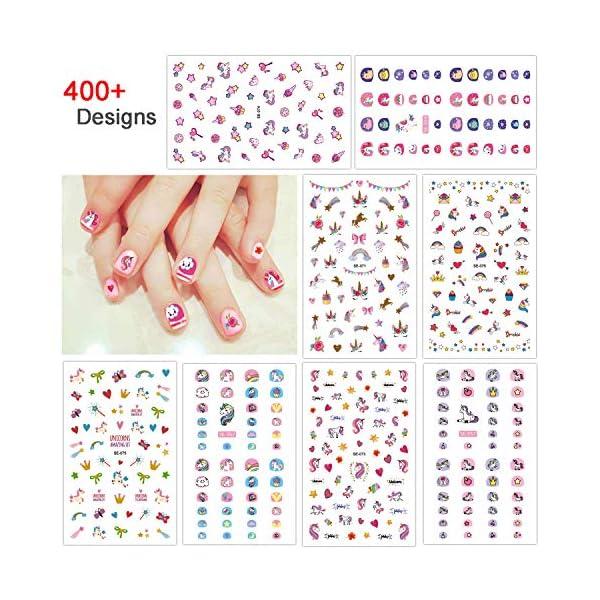 Konsait Unicorn 3D Nail Art Stickers Decals (400+Designs), Rainbow Unicorn Heart Bowknot Nail Sticker False Nail… 3