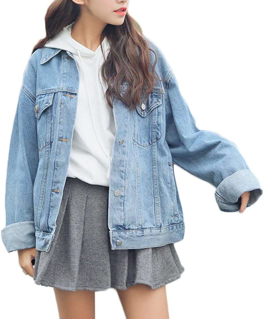 Aiweijia Womens fashion denim jacket long sleeve loose casual wear