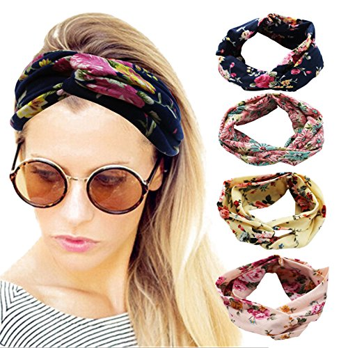 (4 Pack Women Headband Boho Floal Style Criss Cross Head Wrap Hair Band set5)