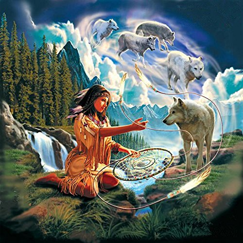 34x34cm Full Square Mosaic Diamond Painting Cross Stitch Native American Indian Beauty DIY 5d Diamond Painting Dream Catcher Wolf