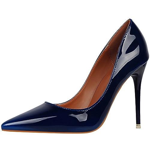 Charol De Boda Puntiagudo Altos Trabajo Zapatos Mujer Del Tacones Dedo Pie Tacón Bigtree 8m0Nnw