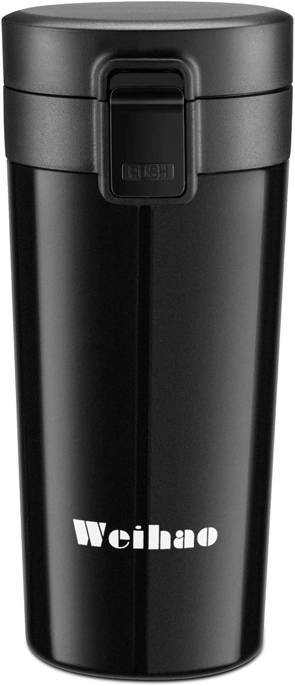 Weihao 12 ounce Travel Mug, Vacuum Insulated Travel Coffee Mugs, Double Wall Stainless Steel Coffee Mug Tumbler with Leak Proof Lid for Hot & Cold Drinks