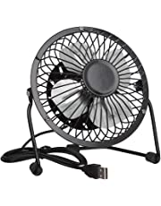 Invero® Mini USB Tilting Desktop Cooling Fan with Metal Shell and Aluminium Blades ideal for Home, Office, Laptops, Notebooks, Desktop PC's and more - Simple Plug & Play - Black