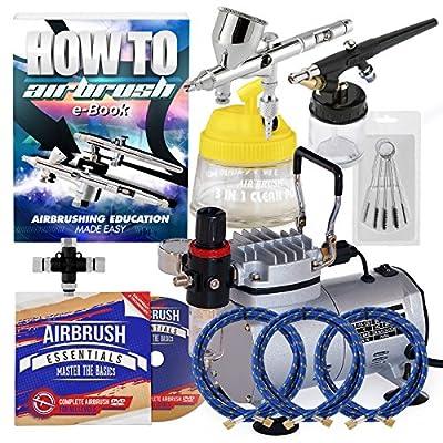 PointZeroTM Pro Multi-purpose Two Airbrush Set - Piston Compressor Kit