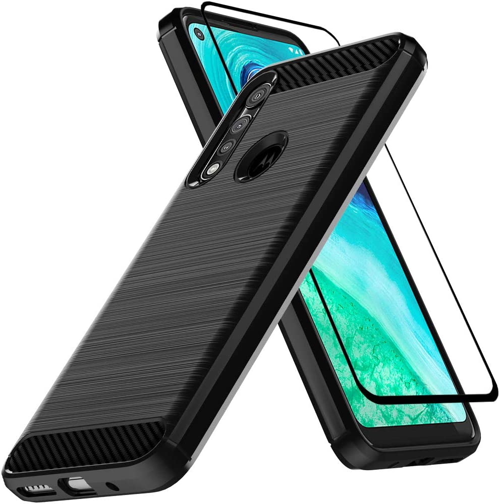 Dretal Moto G Fast Case with Tempered Glass Screen Protector, Shock-Absorption Slim Fit Flexible TPU Case Brushed Texture Soft Rubber Protective Cover for Motorola Moto G Fast (LS-Black)