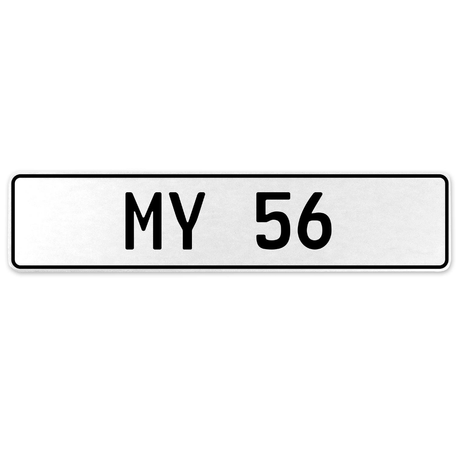 Vintage Parts 555148 My 56 White Stamped Aluminum European License Plate