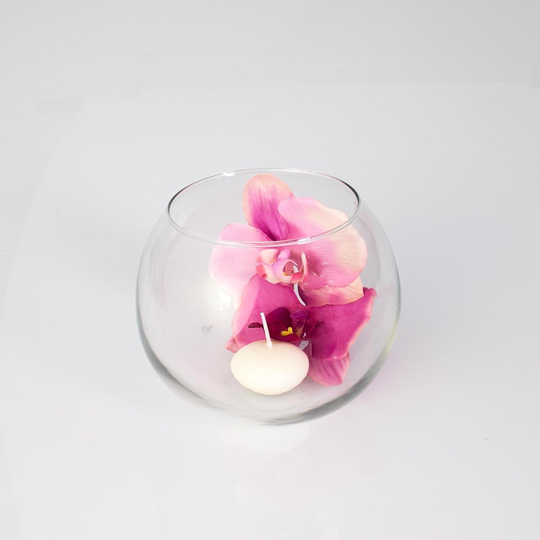 Pecera - Jarrón esférico de cristal TOBI, transparente, 12 cm, Ø 14 cm - Recipiente de vidrio / Pecera decorativa - INNA Glas: Amazon.es: Hogar