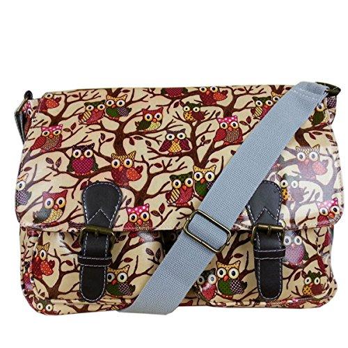 Body Oilcloth Messenger Bag Ladies Beige Satchel Dots Flower Polka Owl Bag Print Cross w64q0F4xd