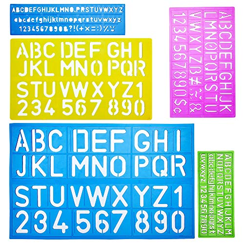 Mr. Pen- Alphabet Templates, Alphabet Stencils, Pack of 5, Letter Stencils, Template Letters, Stencils Letters and Numbers, Art Stencils, Drawing Tools, Drafting Supplies, Tracing Letters and Numbers ()