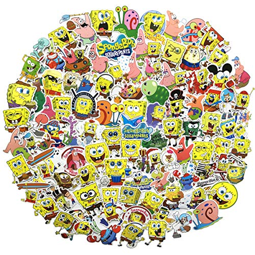 Spongebob Squarepants Stickers Cartoon Waterproof Reused Stickers Car Laptop Helmet Luggage Vintage Skateboard Wall Decor Watter Bottle Stickers(Spongebob Squarepants )
