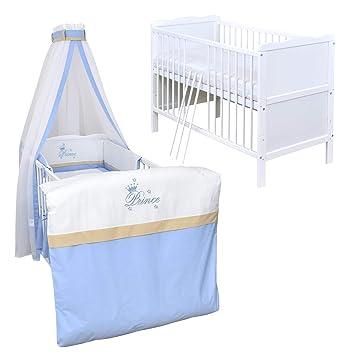 Baby Delux Babybett Kinderbett umbaubar zum Juniorbett mit Komfort Matratze 120x60 Wei/ß
