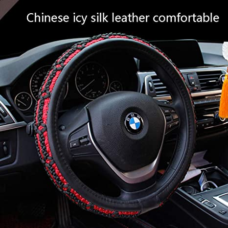 Amazon.com: ZJWZ Steering Wheel Cover Ice Silk+Leatherfour Seasons Universal Steering Wheel Cover Universal Size 37-39Cm,BlackRed: Kitchen & Dining