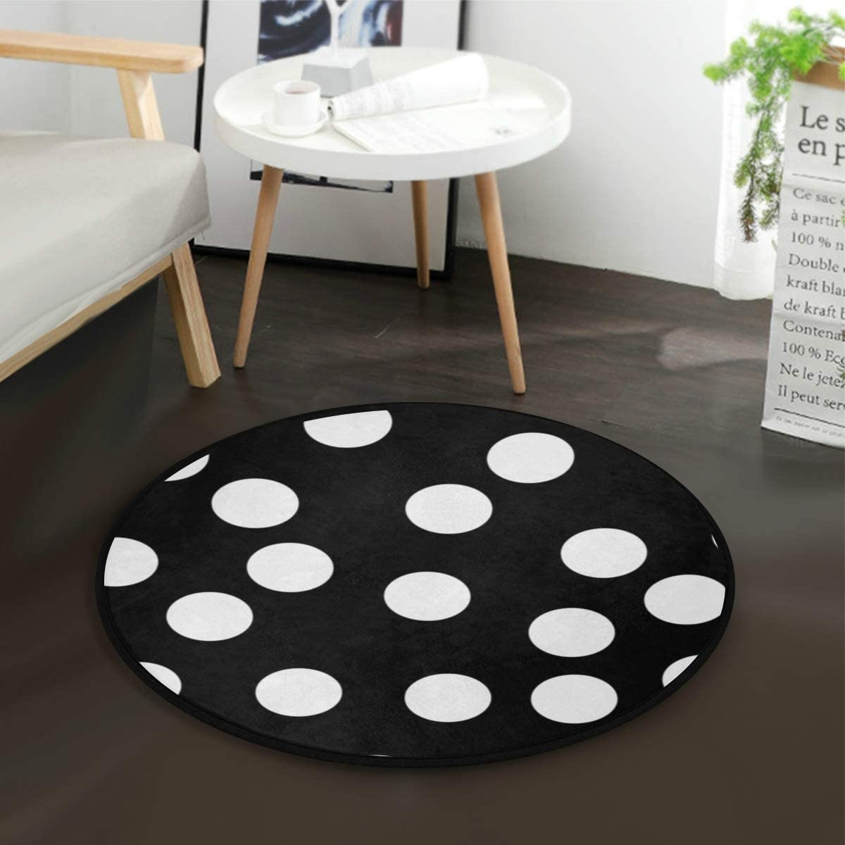 White Black Polka Dot Round Area Rug