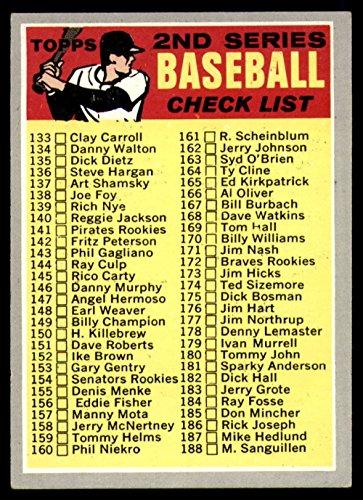 Baseball Topps Checklist (Baseball MLB 1970 Topps #128 2nd Series Checklist 133-263 ERR EX Excellent)