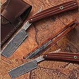 Custom Made Damascus Steel Straight Razor Pakka Wood Handle w/ Sheath (Limited Edition)
