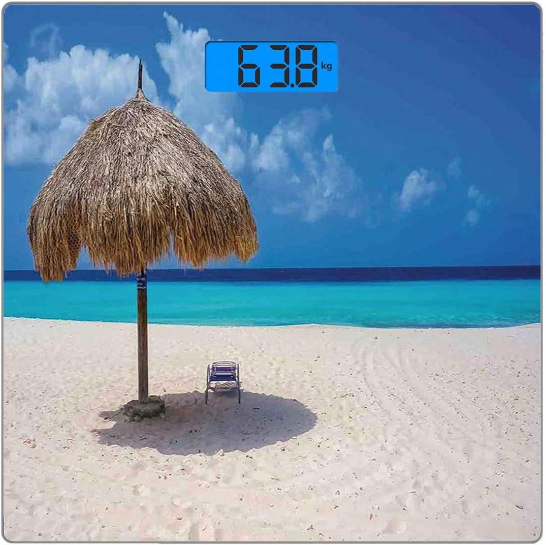 Escala digital de peso corporal de precisión Square Playa Báscula de baño de vidrio templado ultra delgado Mediciones de peso precisas,Sombrilla y silla Sunny Day en Romantic Beach Caribbean Paradise
