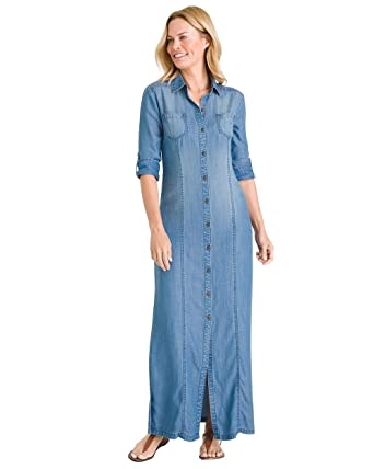 d7ed5101fe Chico's Women's Denim Maxi Dress Size 4 S (0) Denim at Amazon Women's  Clothing store: