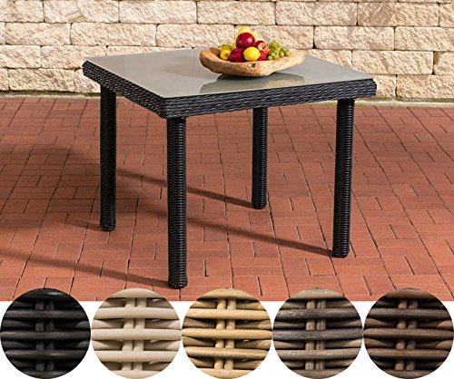 CLP Poly-Rattan Garten-Tisch PUERTO RICO, Milchglas, Esstisch quadratisch, ALU Gestell, Höhe 73 cm, 5 Farben + 3 Größen wählbar Rattanfarbe: Schwarz, 90 x 90 cm