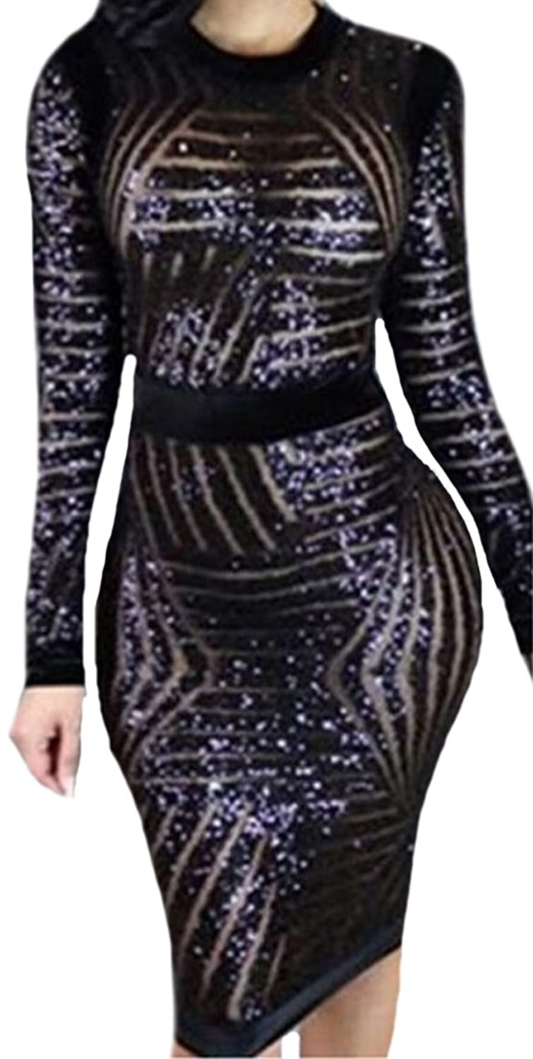 MLG Womens Sexy Geometric Sequins Long Sleeve Package Hip Dress