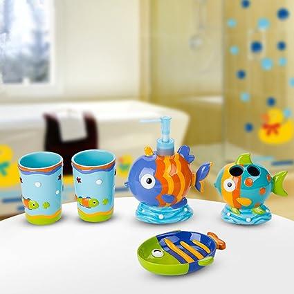 YOURNELO Kidu0027s Cartoon Cute Animals Fish Duck Octopus Resin Bathroom  Accessories Set For Housewarming Wedding Gift
