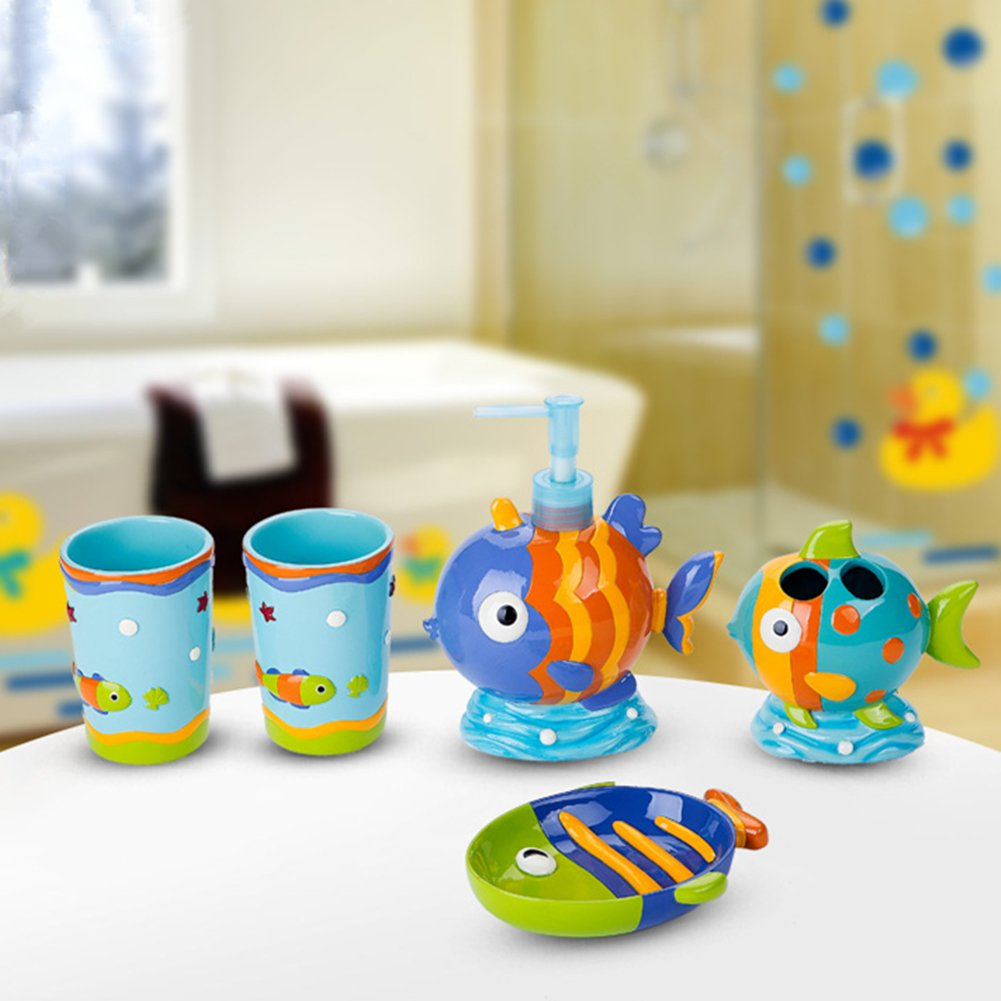 YOURNELO Kid's Cartoon Cute Animals Fish Duck Octopus Resin Bathroom Accessories Set for Housewarming Wedding Gift Soap Dispenser Soap Dish Toothbrush Holder Tumbler Cups (Tropical Fish)