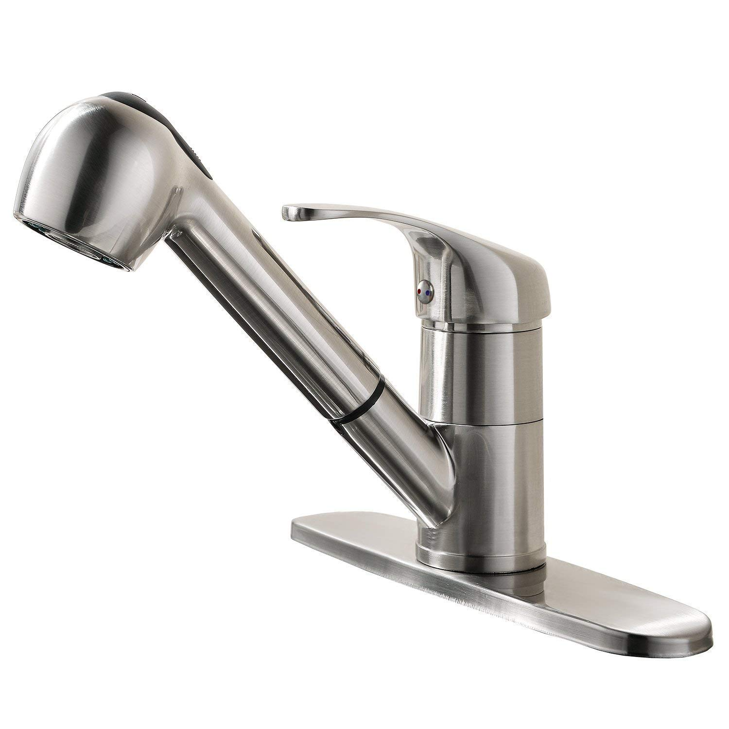 Gooao Modern Brushed Nickel Single Handle Stainless Steel Pull Out