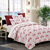 3 Piece Pink White Full Queen Quilt Set, Animal Themed Bedding Flamingo Pattern Cute Beach Coastal Chic Elegant Modern Trendy Nautical Tropical Whimsical Coral Polka Dot, Cotton, Polyester