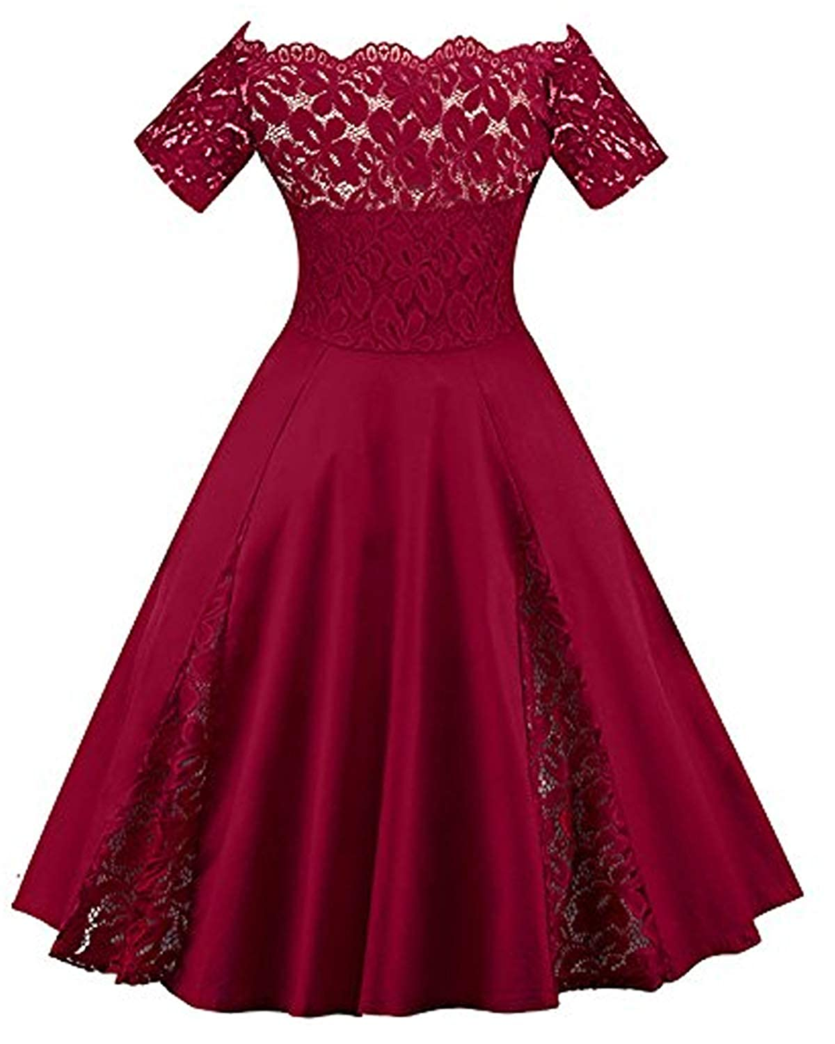 66660db12b19 Amazon.com: GAMISS Women's Vintage Off Shoulder Cocktail Dress Plus Size  Floral Lace Dress Short Sleeve (S-5XL) (1 Red Wine, 5XL): Clothing