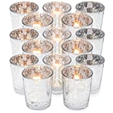 #9: GranRosi Classy Votive Candle Holders Set of 15 by Made Of Mercury Glass With A Speckled Silver Finish - Perfect To Add A Unique Atmosphere To Every Home And Wedding Decor