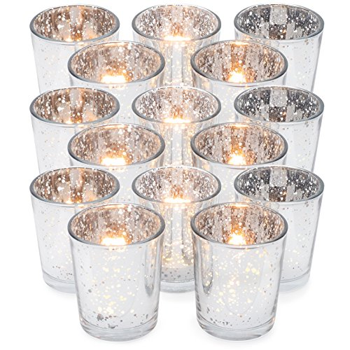 GranRosi Classy Votive Candle Holders Set of 15 by Made Of Mercury Glass With A Speckled Silver Finish - Perfect To Add A Unique Atmosphere To Every Home And Wedding Decor