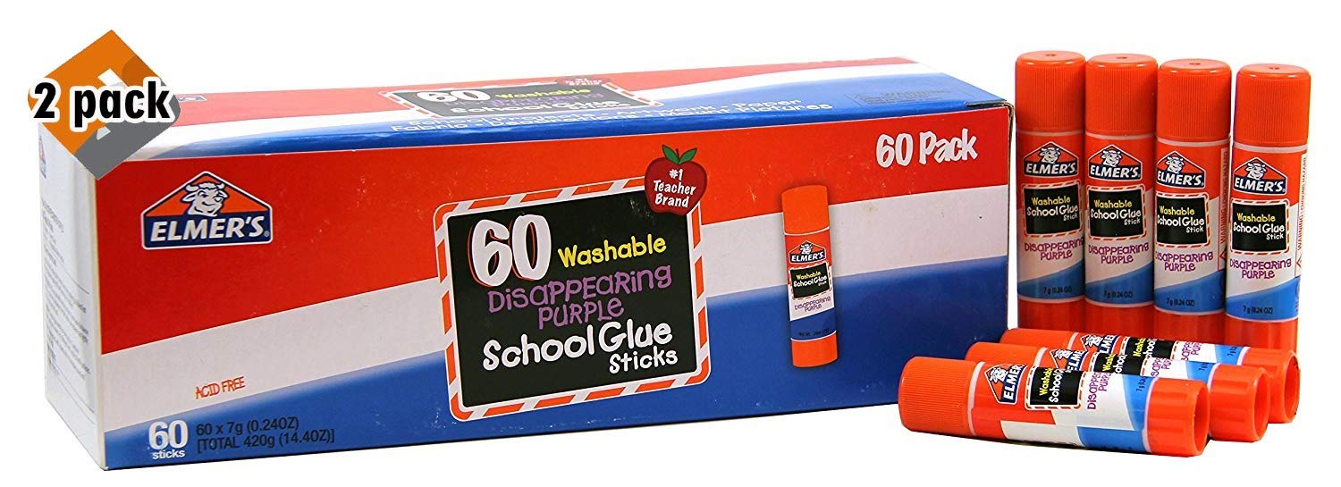 Elmer's Disappearing Purple School Glue, Washable, 60 Pack, 0.24-Ounce Sticks - Pack of 2 by Elmer's