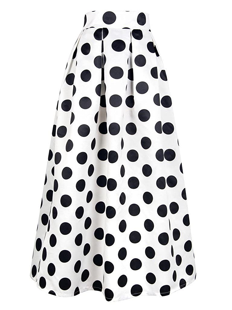 dd927b6d0 CHOiES record your inspired fashion Women's White Contrast Polka Dot Print Maxi  Skirt at Amazon Women's Clothing store: