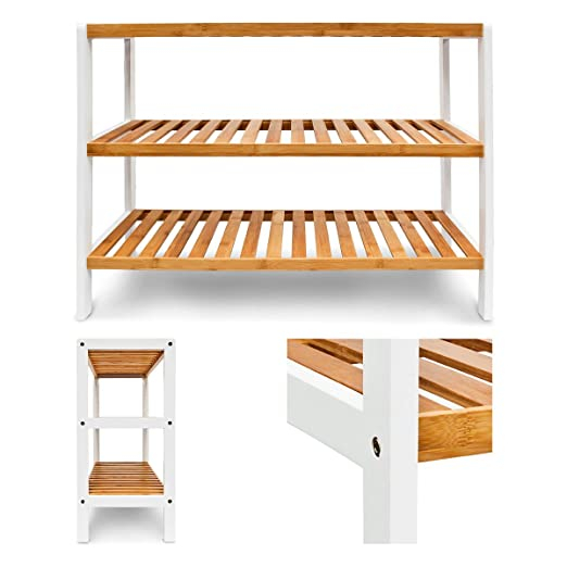 relaxdays bamboo shoe rack with 3 shelves 70 x 545 x 245 cm for 12 pairs of shoes brownwhite amazonca home u0026 kitchen