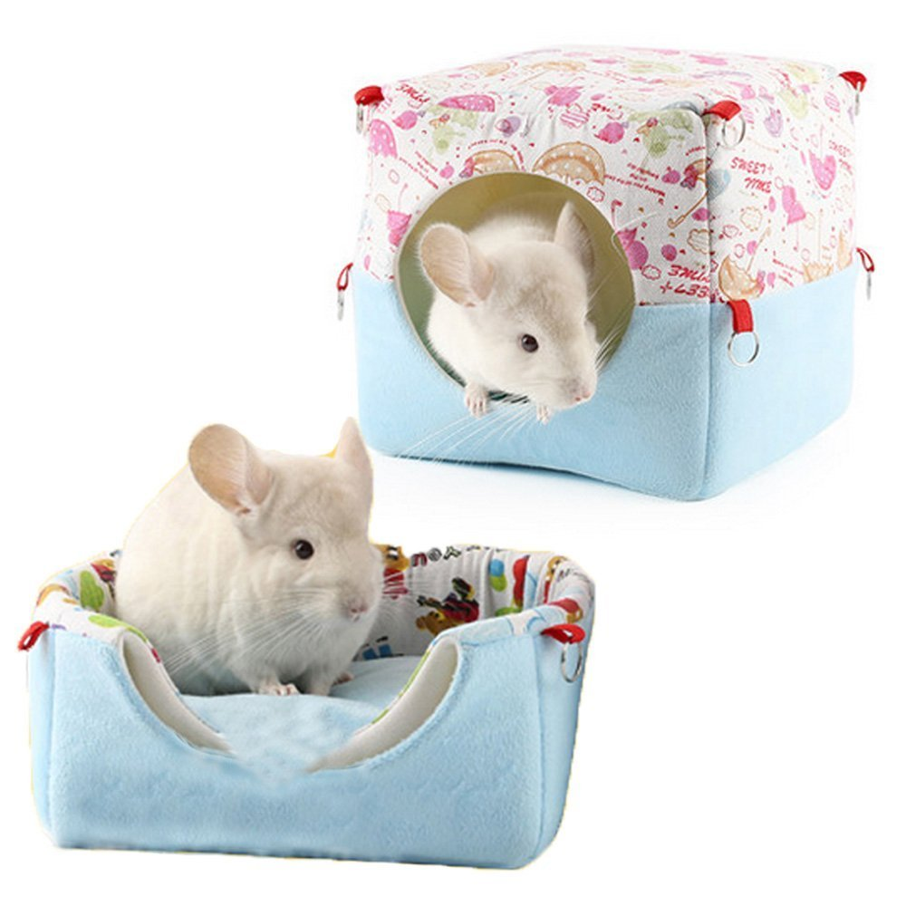 Misyue Guinea Pig Hanging Bed Hamster House Warm Bed Cute Small Animal Pet Winter Warm Chinchilla House Cage for Healthy Sleep (Blue)